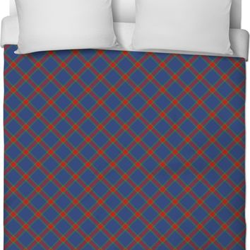 Classic tartan pattern duvet cover, retro style bedroom decor, dark blue, red, purple