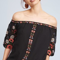 Embroidered Poppy Off-The-Shoulder Blouse