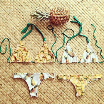 Reversible Bikinis Pineapple Printed Halter Bathing Suit Swimwear Sexy Swimsuit