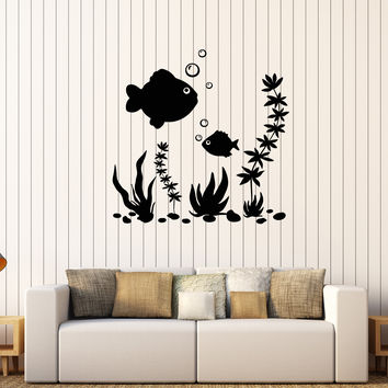 Vinyl Wall Decal Fish Aquarium Marine Art Sea Ocean Bathroom Stickers Unique Gift (232ig)