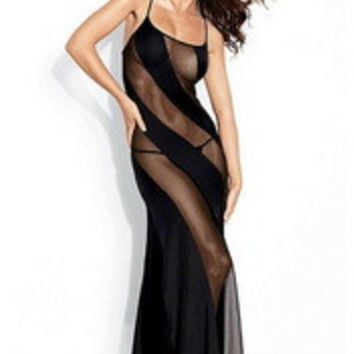 Sexy Elegant Black Sheer & Opaque Diagonal Stripes Boudoir Lounge Wear Long Gown