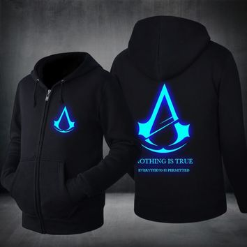 2017 Spring New Fashion Autumn Winter Assassin Creed fleece Hoodie Sweatshirt  Cosplay Costumes Cool Zipper Hoodies Men