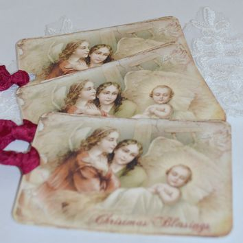 Gift Tag Set - Christmas Blessings. Religious Image. Baby Jesus Image.