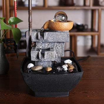 Feng shui round crystal ball water fountain furnishing articles home sitting room office desktop waterscape
