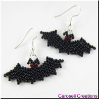 Halloween Holiday Vampire Bat Beadwork Seed Bead Earrings