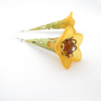 Orange Lucite Flower Earrings, Hand Painted Filigree