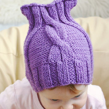 Knit Baby Hat, Fall Winter Baby hat, Childs Hat, Merino wool baby hat, Knit baby clothes