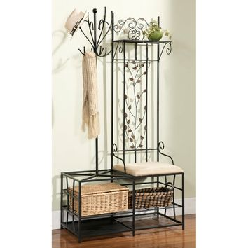 Metal Half-tree Design Coat Rack and Bench with Storage | Overstock.com Shopping - The Best Deals on Benches