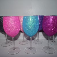 Hot Pink Glitter Wine Glass - Set of 2