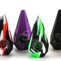 Unbreakable Diamond Shape Silicone Dry Herbs Pipe with glass bowl