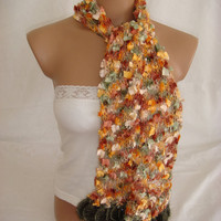 Hand knitted&crocheted multicolor elegant scarf