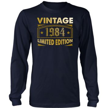 Men's Vintage 1984 34 Year Old Birthday Gift Long Sleeve T-Shirt