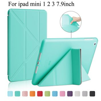 For ipad mini 1 2 3 case Nice flexible soft back tpu silicone case PU leather front smart wake up sleep magnetic cover case+gift