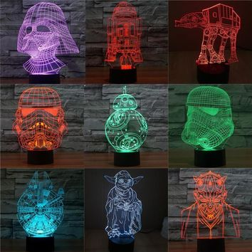 Star Wars Force Episode 1 2 3 4 5 3D bb8  LED Figurine Yoda Darth Vader Millennium Falcon toy light abstract Doll Lighting action figure Toys AT_72_6