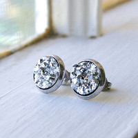 crackle silver 10mm post earrings, faux druzy, stud, punk, faux plug, fake plug, sparkle