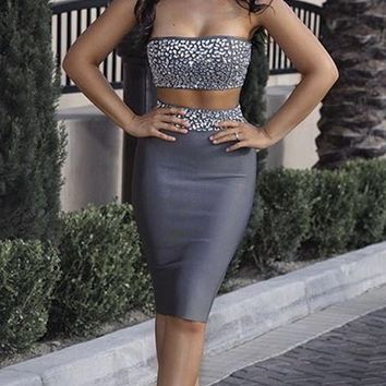 Don't Wait Up Grey Jeweled Strapless Crop Top Choker Neck Bodycon Bandage Midi Two Piece Dress