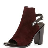 Wyatt Suede Open-Toe Back-Strap Bootie, Bordeaux - Rag & Bone - Bordeaux