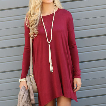 Now Becoming Royalty Burgundy Long Sleeve Dress