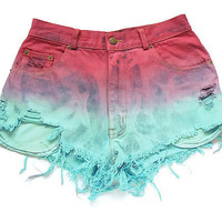 Tricolor ombre shorts XL by deathdiscolovesyou on Etsy