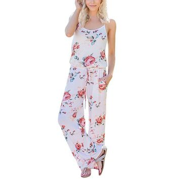 Aikoar Female Floral Print Loose Rompers Summer Spaghetti Strap Full Length Jumpsuits Women Causal Overalls with Belt