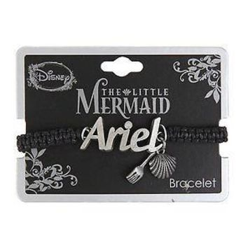 Licensed cool Disney The Little Mermaid Ariel Cord Bracelet Fork Seashell Silver Tone Charms