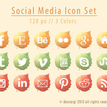 Autumn Leaves Social Media Icons - 18 Icon Set - INSTANT DOWNLOAD - 128 px // 3 Colors - .png + PSD Files