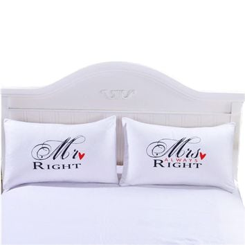 Cool 4 Styles White Romantic Mr Mrs Pillow Case Couple King Queen His Hers Always Right Pillowcase Pillow Cover Home Bedding TextileAT_93_12