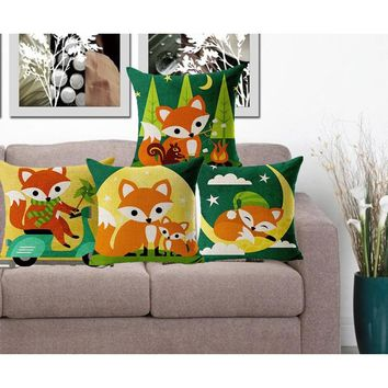 Pillow Case Cute Fox Animal Cushion Covers Cotton Linen Car Chair Seat Sofa Square 18x18 inches Cushion Cover
