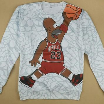 Jordan Homer Simpson Jumpman Bulls Elephant print custom shirt