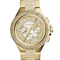 Michael Kors Women's Chronograph Camille Horn and Gold-Tone Stainless Steel Bracelet Watch 43mm MK5902