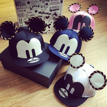 2015 Summer Womens Cartoon Cute Big Mouse Ears Eyes Snapback Hats Mesh Cap Hip Hop Baseball Caps Female Topee Sun Hat For Women