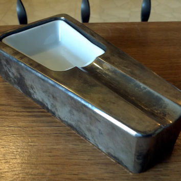 Vintage Art Deco Silver Plate Ashtray Cigarette Holder Cigar Solid metal 2.4 lbs Steel Mid century modern high society long cig  ash tray
