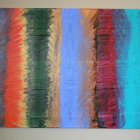 Abstract Painting Multicolor Textured Stripe by Acires on Etsy