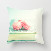 Pink Macaroons and Mint old book Throw Pillow by AC Photography