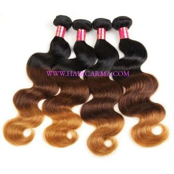 10A Best Malaysian Remy Hair Ombre Color Body Wave 4 Bundles /Pack