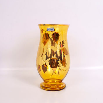 Vintage Bohemia Crystalex Vase Czech Republic Amber Etched Glass Hurricane 24KT Gold Leaf Floral Pattern Art Deco