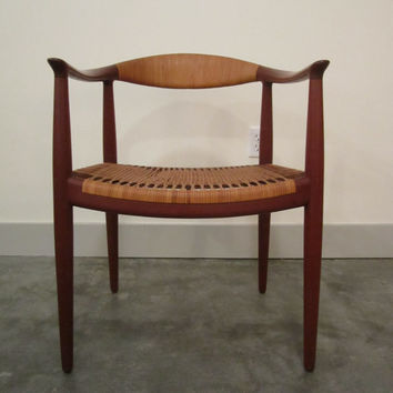 Danish Modern Hans Wegner Johannes Hansen Teak and Cane Round Chair