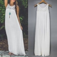 Sexy Women Summer Boho Long Maxi Evening Party Lace Dress Beach Dresses Sundress