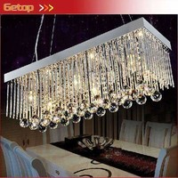 Best Price Crystal Chandeliers Restaurant Pendant Lamp Rectangle K9 Crystal Ceiling Lamp Fixture Modern LED Lighting