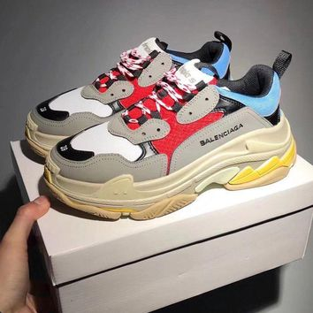 Balenciaga Two layers Mixed Colors Retro Sneakers Running Shoes Contrast B-CSXY