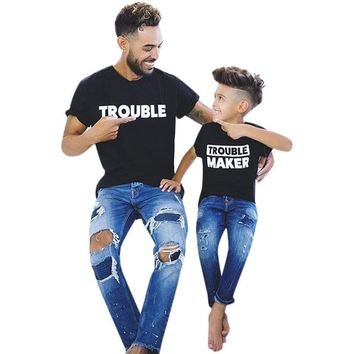 Trouble & Trouble Maker Father and son matching pair t-shirts Funny Dad Tee