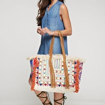 Mirror Bead Fringe Boho Artisan Large Tote Bag
