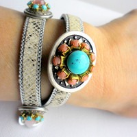 Native american snake design bracelet, concho with pale pink cupchain in the center an turquoise cabochon, Hippie jewelry