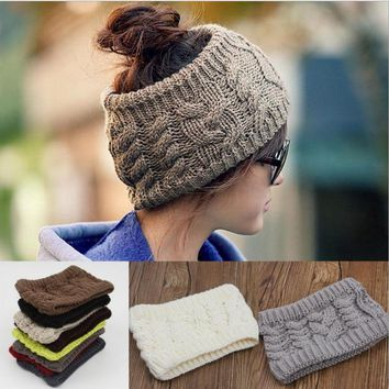 Women Knot Knit Headband Bow Crochet Turban Head Wrap Hair Accessories-5