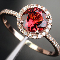 7mm Round Halo Ring Series - Pink Tourmaline & Diamond Halo Ring, Stone Options: Aquamarine/Morganite/Peridot/topaz/Amethyst/Garnet...