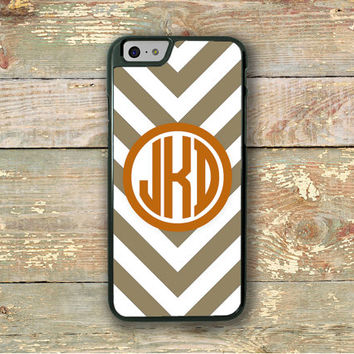Chevron Iphone case, Monogram Iphone 6 case, Unisex Iphone 6 cover, Taupe burnt orange, Preppy phone case, Personalised gift custom (9736)