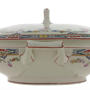 Antique English Covered Dish W. H. Grindley Dresden Pattern Vegetable Serving Bowl or Casserole Dish with Lid Victorian Garland Art Nouveau