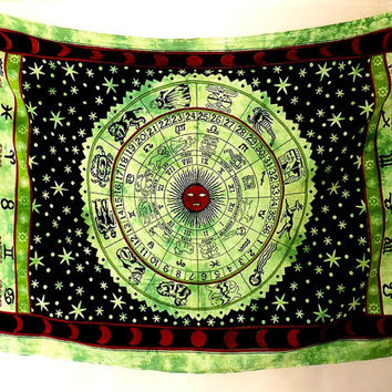 GREEN Cotton Hippie Tapestry, Hippie Astrology Wall Tapestries Wall Hanging, Boho Bohemian Bedspread Bedding Throw, Horoscope home decor