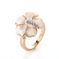 MLOVES Women's Delicate Beautiful Pink Rose Ring