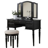 Amazon.com: Bobkona St. Croix Collection Vanity Set with Stool, Black: Home & Kitchen
